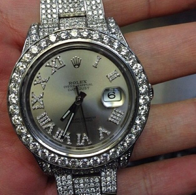 mens fully iced out lab made diamond rolex date just 2 ii