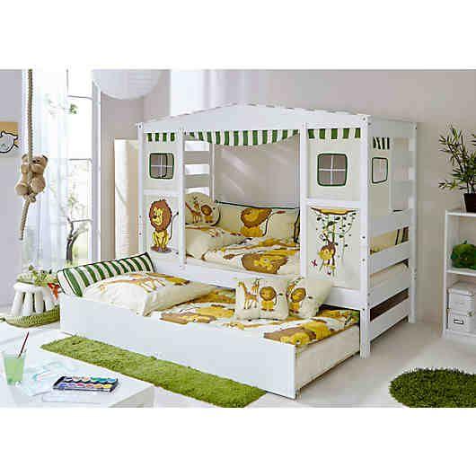 """Was gibt es für Kinder Schöneres als eine kleine Höhle oder Versteck? An den Seiten befinden sich """"Wände"""" und oben ein Dach, das Sie ganz leicht dekorieren und an die Wünsche Ihres Kindes anpassen können. So entsteht ein ganz individueller Schlafplatz, der Ihr Kind zum Träumen einlädt.<br /> <br /> Lieferumfang:<br /> - Bett<br /> - mit Zusatzbett<br /> - Vorhangstoff<br /> <br /> Die Lieferung erfolgt oh..."""