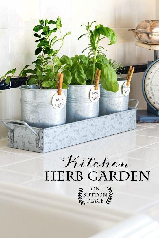 Kitchen Herb Garden   Put this farmhouse style kitchen herb garden together in minutes! Galvanized metal containers   Indoor herb garden   Herb garden tags.
