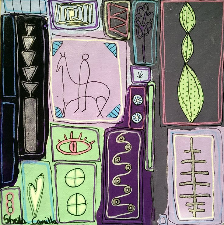 """""""Purple"""" Acrylic painting by Sheila Camilla Acrylic and collage on canvas ©Sheila Camilla Nielsen, 2015."""