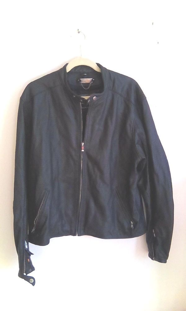Power Trip Motorcycle Jacket Perforated Leather  Black Reflective L large #PowerTrip #Motorcycle