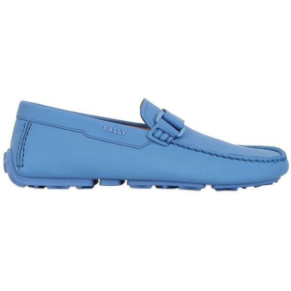 """BALLY """"Dred"""" Leather Driving Shoes - Blue ($450) ❤ liked on Polyvore featuring men's fashion, men's shoes, mens driver shoes, mens leather shoes, mens fleece lined shoes, bally mens shoes and mens driving shoes"""