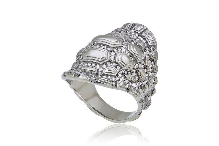 Tartaruga Ring With Stones Δαχτυλίδι με λευκά cz από οξειδωμένο ασήμι 925.Price : 200€