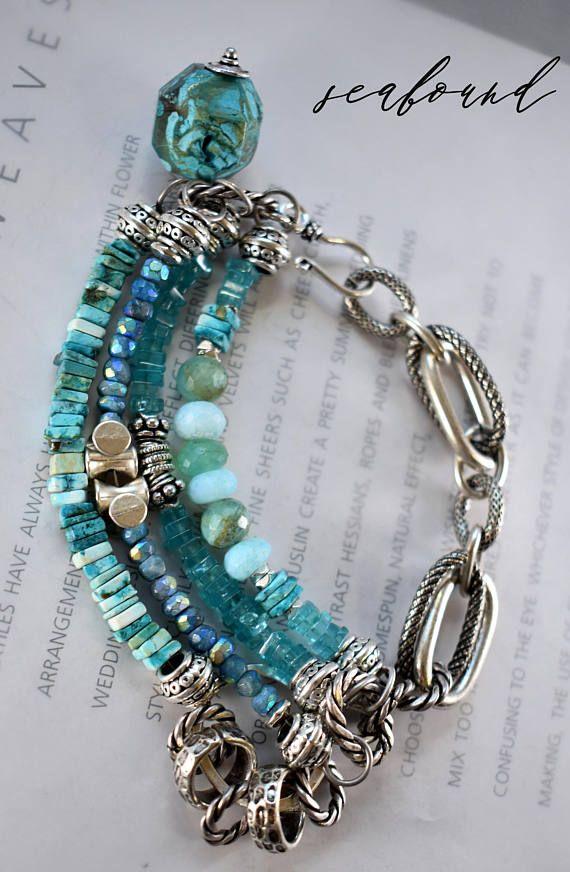 bracelet turquoise bracelet fluorite bracelet multi strand