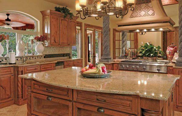 Santa Cecilia granite rustic cherry cabinets kitchen remodel ideas