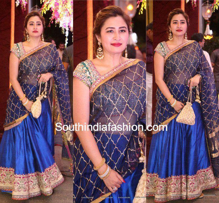 Jwala Gutta in a blue lehenga at Anam Mirza's Wedding Reception