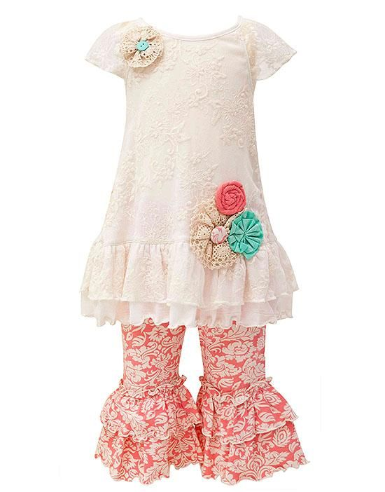 Peaches n Cream CAMEO ROSE Ivory Coral Lace Capri set (girls sz 2T-6x) Gorgeous outfit for Spring! ~Color Me Happy Boutique