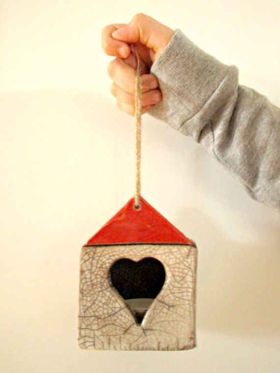 Vaso sospeso in ceramica raku per piante  Vaso sospeso