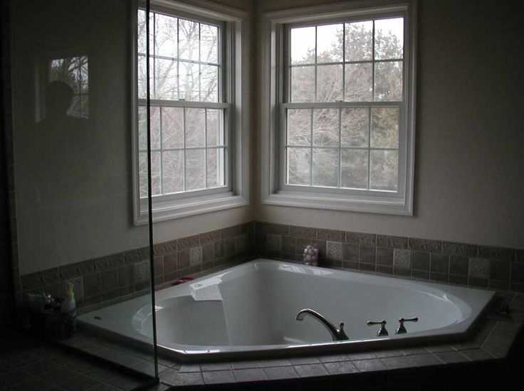 corner garden tub decorating ideas with gray tile - Google Search