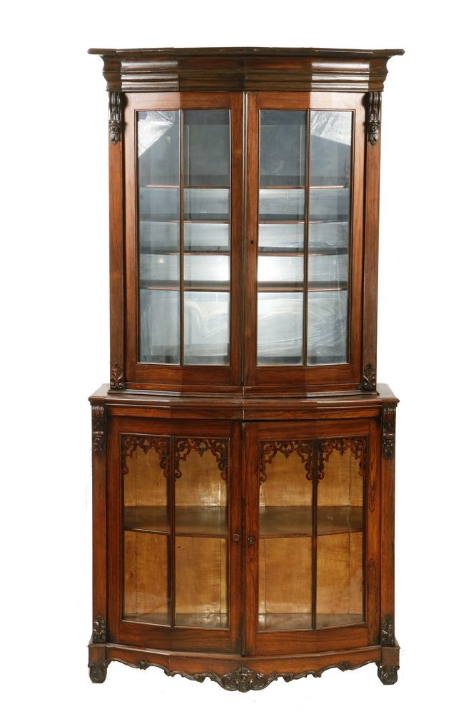 Two Part Curio Cabinet Victorian Rosewood And Walnut Gl Front Vitrine With Maple Interiors