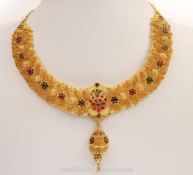 Gold-floral-Necklace-From-Kerala-Jewellers.jpg (1104×1004)