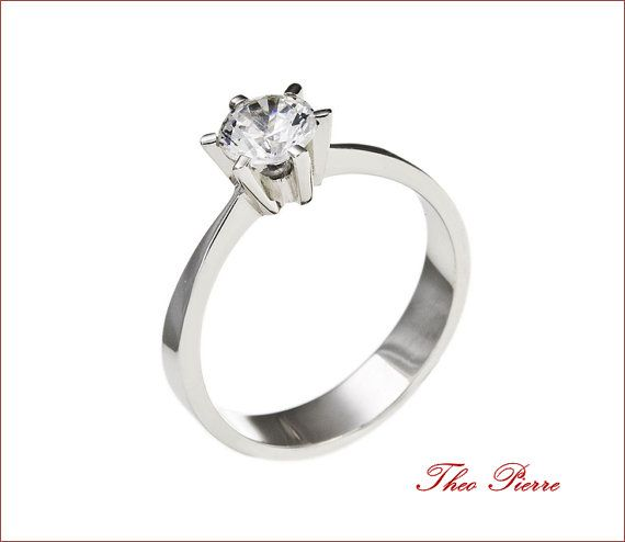 Sterling Silver Solitaire Ring 18K Gold Diamond by TheoPierre