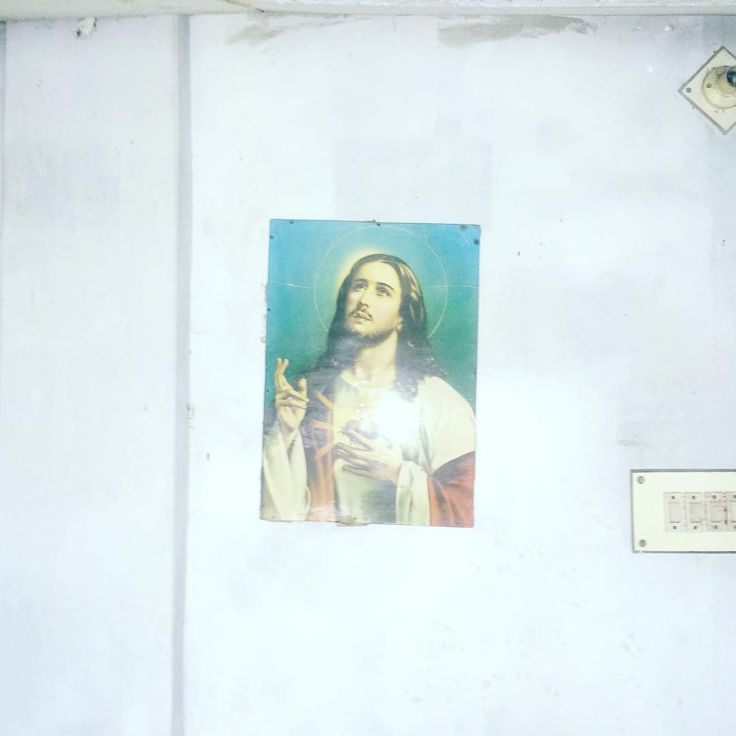 Picture of Jesus hangs in a drawing room, village residence. @Khulna #Bangladesh .