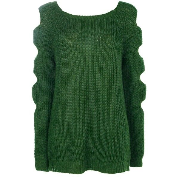 Boohoo Amelia Open Arm Knitted Jumper ($14) ❤ liked on Polyvore featuring tops, sweaters, turtle neck sweater, nordic sweater, chunky turtleneck sweater, green turtleneck and wrap sweater
