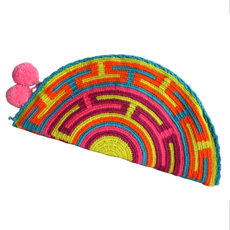 Mango Abanico Wayuu Clutch. Handmade and Fair Trade  Wayuu Clutches – LOMBIA & CO.   www.LombiaAndCo.com