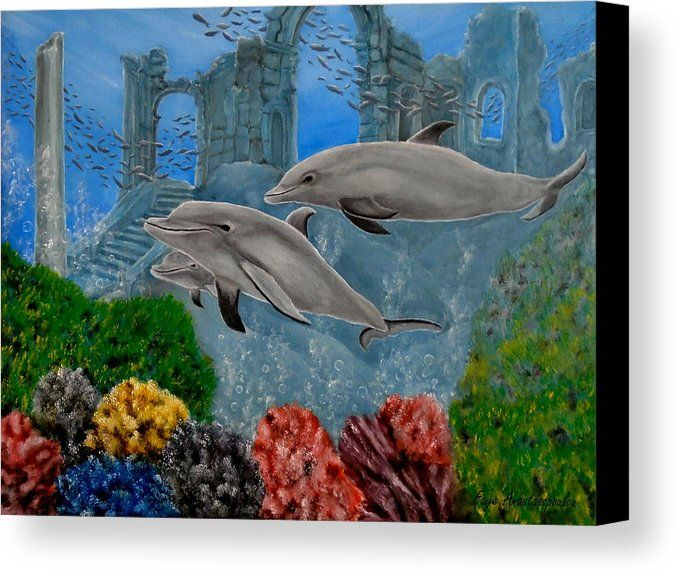 Canvas Print, Painting, dolphins,deep,sea,ocean,underwater,world,scene,wildlife,marine,animals,aquatic,wild,fishes,seascape,big,ruins,temples,arches,ancient,sunk,submerged,saltwater,depth,bottom,nature,corals,reefs,bubbles,vivid,vibrant,colorful,aqua,blue,turquoise,old,mystery,mystical,kingdom,glorious,beautiful,awesome,cool,amazing,fantasy,imagination,realistic,in,of,at,under,the,oil,artworks,images,fine art america,aquatic symphony
