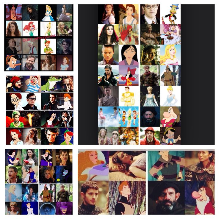Once upon a time. Once upon a time abc. Cartoon character and real characters.