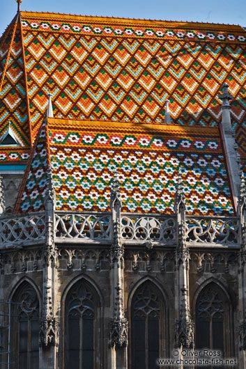 Roof detail of the Matthias Church in Budapest castle