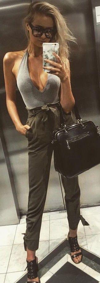 Grey Bodysuit + Army Green High Waist Pants                                                                             Source