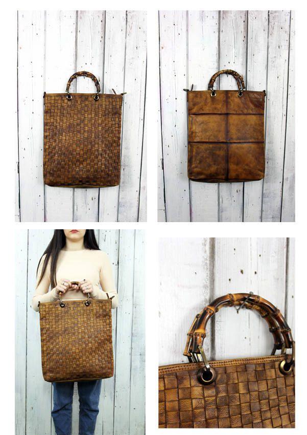 """Handmade woven leather bag """"INTRECCIATO 93"""" di LaSellerieLimited su Etsy"""