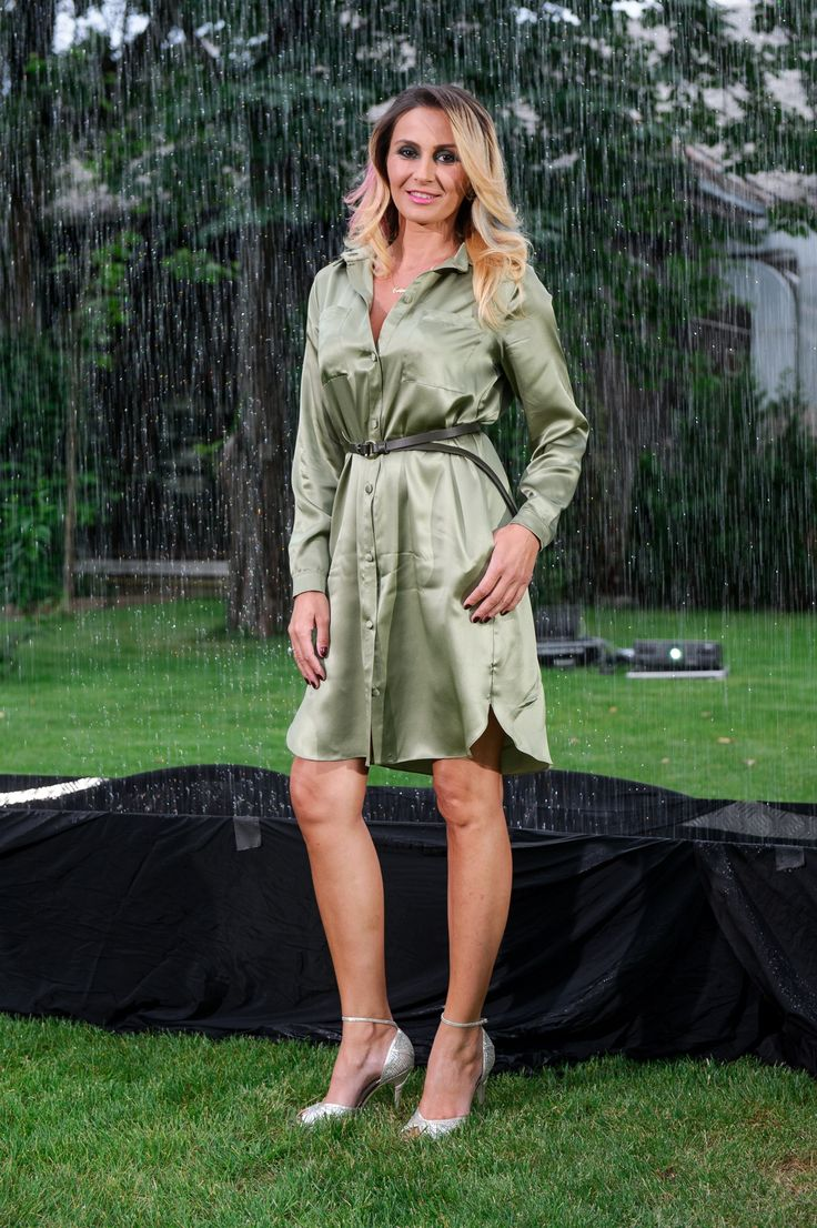 Crina Abrudan wearing http://shop.laurahincu.ro/product/office/army-green-silk-satin-shirt-dress/