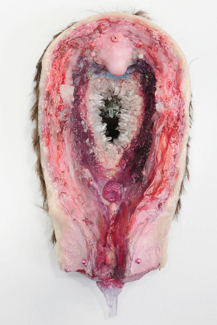 Untitled 6 (Rabbit Holes), 2013  resin, foam, epoxy clay, plastic beads, quartz crystal, synthetic hair,  acrylic paint  7.5 H x 13 W x 7.5 D inches