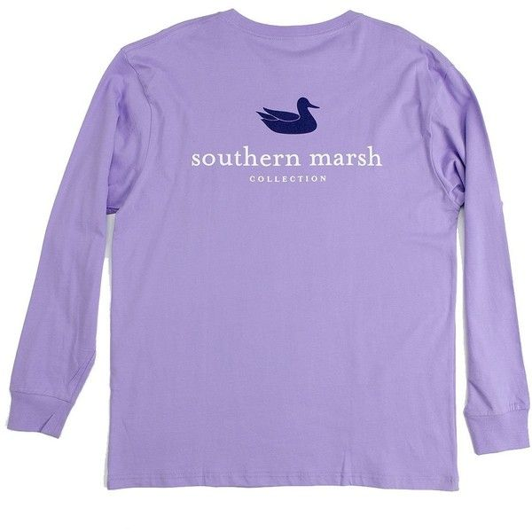 Southern Marsh Authentic Long Sleeve T-shirt ($36) ❤ liked on Polyvore featuring tops, t-shirts, purple long sleeve t shirt, long sleeve tops, long sleeve tee, t shirts y henley t shirt