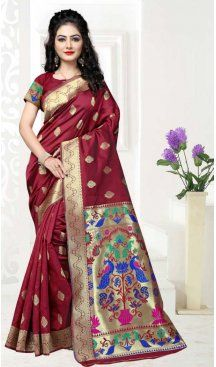 Maroon Color Art Silk Pooja and Traditional Wear Saree | FH579186176