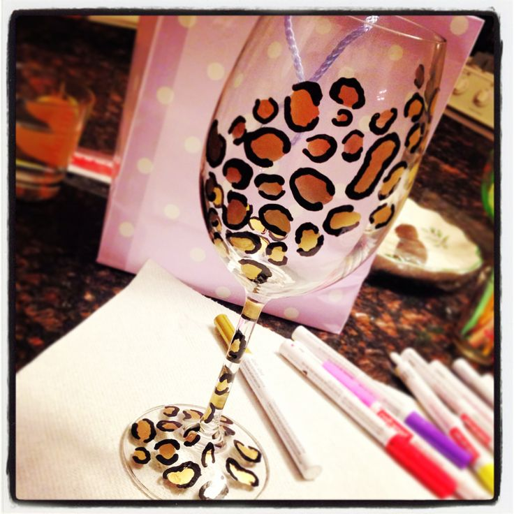 DIY wine glass. Paint wine glass. Hand painted wine glasses . Cheetah print. Leopard print . Animal print