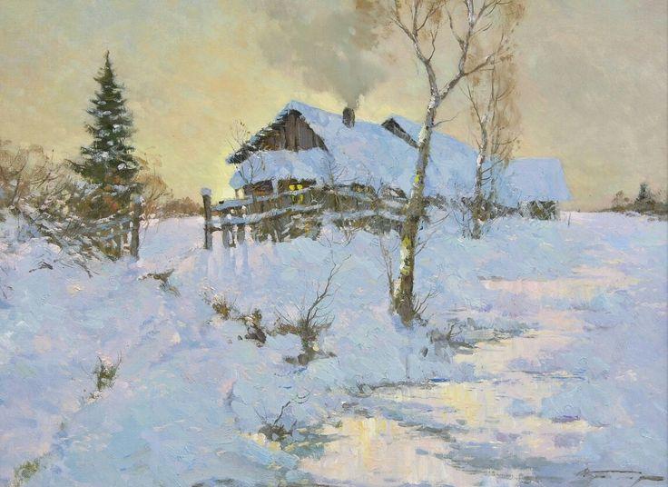 Alexander Kremer, Russian, Dusk, oil on canvas, 18 x 24