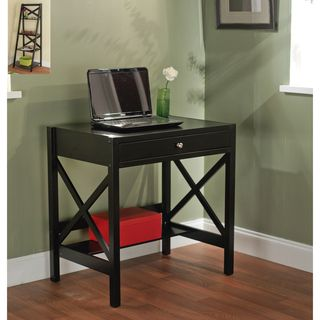 this small black writing desk would add a sleek touch to your office or bedroom space its clean lines and eyecatching cutout detailing are
