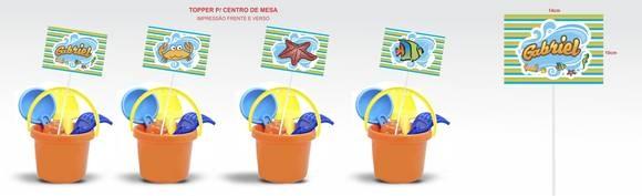 Topper para Centro de Mesa, personalização frente e verso.  Medidas: 14 cm x 10 cm  *Imagem meramente ilustrativa, não acompanha o baldinho de praia.  Personalizamos qualquer tema R$3,70