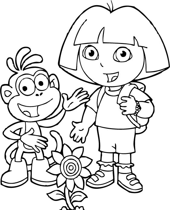 Dora And Friends With Flowers Coloring For Kids