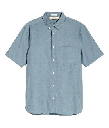 Camisa manga corta Regular fit | Azul grisáceo | Hombre | H&M CO