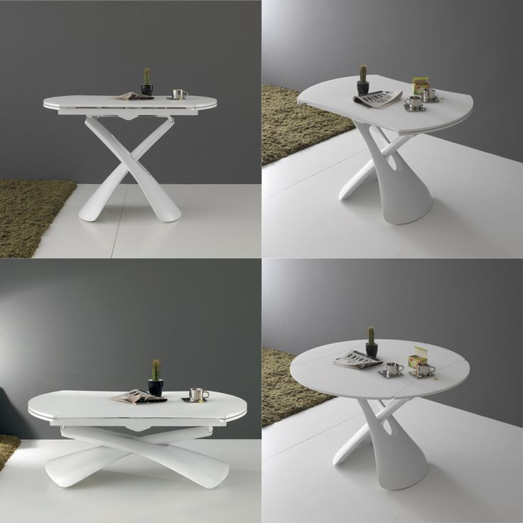 1000 ideas about table ronde en verre on pinterest am nager balcon table - Table relevable blanc laque ...