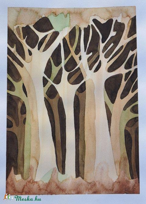 Az erdőbe (akvarell) 2. / Into the woods 2., Dekoráció, Otthon, lakberendezés, Kép, Falikép, Festészet, Meska