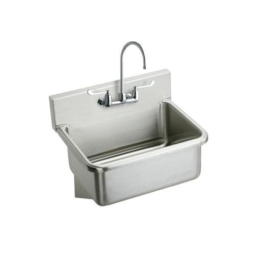 Elkay EWS2520W4C Wall Mount 14 Gauge Stainless Steel (Silver) Scrub Sink with 4 Wrist Blade Handles, Commercial Faucet and Drain Fitting