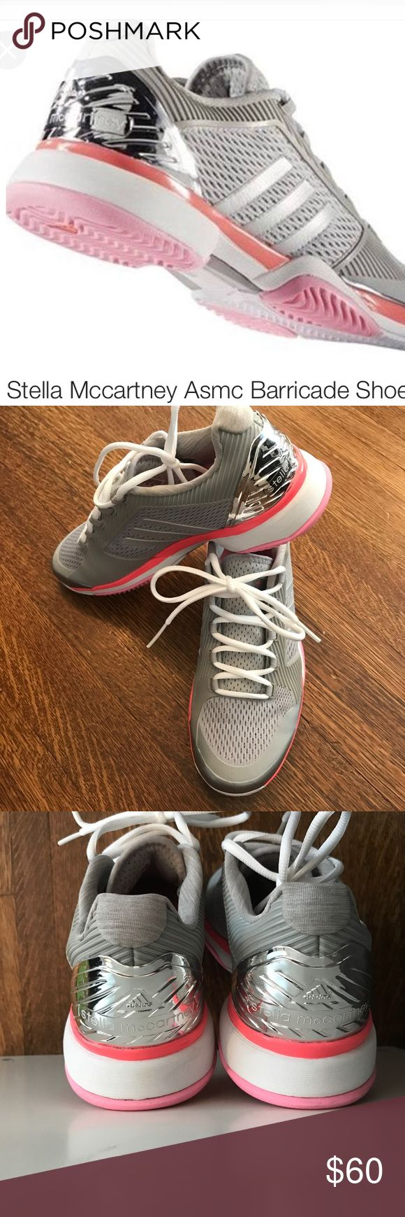Stella McCartney Women's Adidas Tennis Shoe Pink and Gray ASMC  Barricade tennis shoe. Gently used and worn only a hand full of times. Very clean! Runs about a half size big. adidas Shoes Sneakers