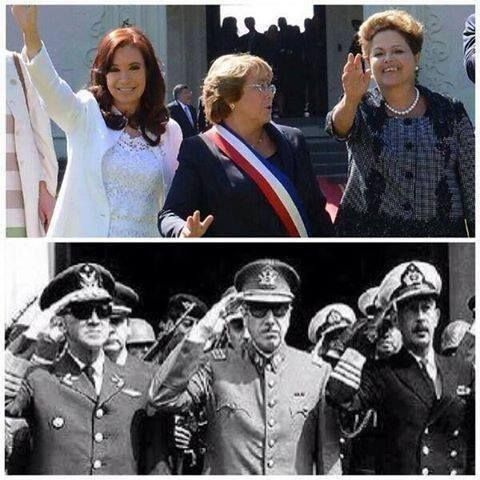 The Presidents of Argentina, Brazil and Chile today, and in the 70s!