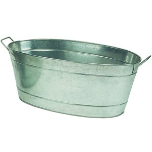 Large Oval Galvanized Tub + stand made for tub -- perfect for large houseplants or outdoors gardening. I want!!!