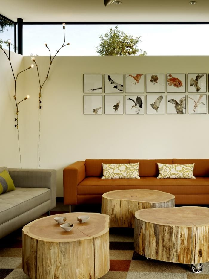 (Art work idea and lamps) Architect is In, Neal Schwartz, Schwartz and Architecture, house in Sonoma, Lindsey Adelman DIY, Andrew Zuckerman Bird, cypress trunk coffee table on castors, Remodelista