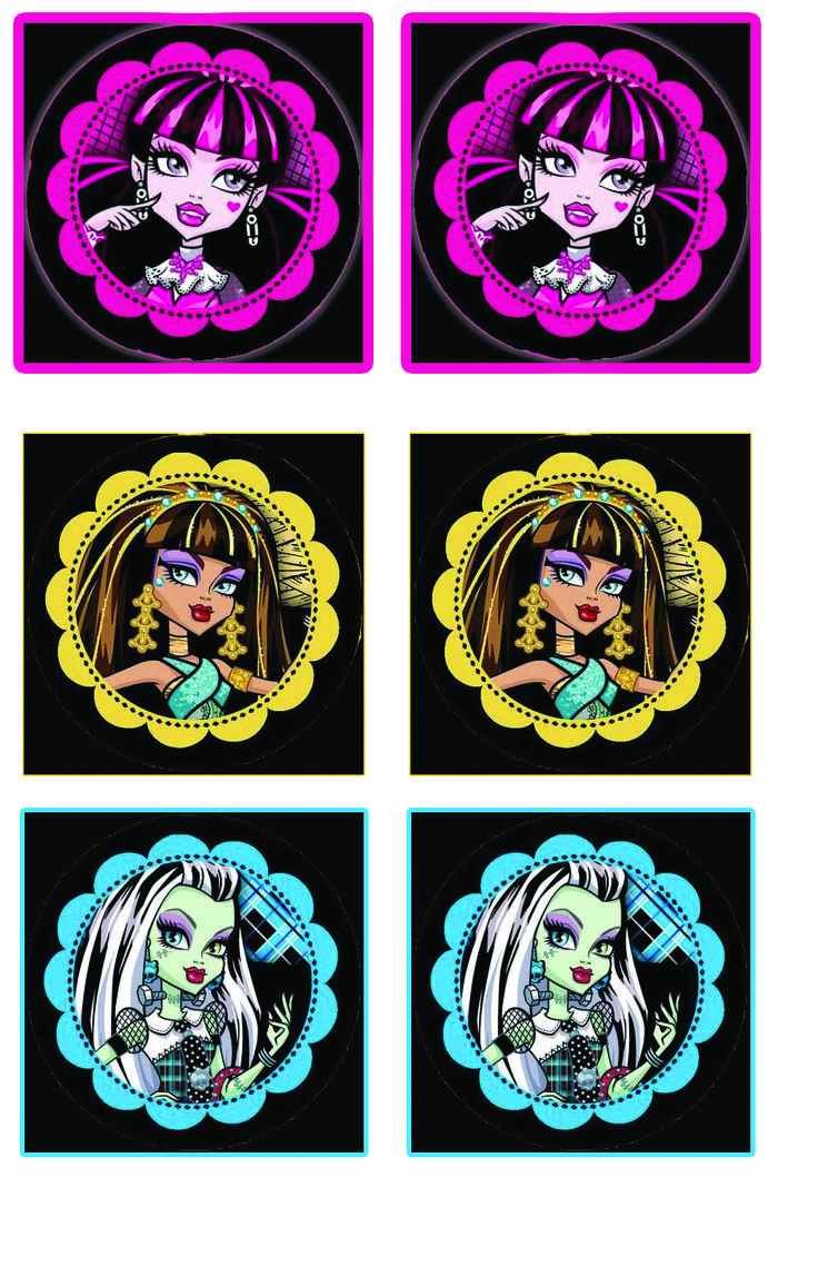 Printable Monster High Main Charactor Cup Cake Circles For Personal use only. All rights belong to their original owners.