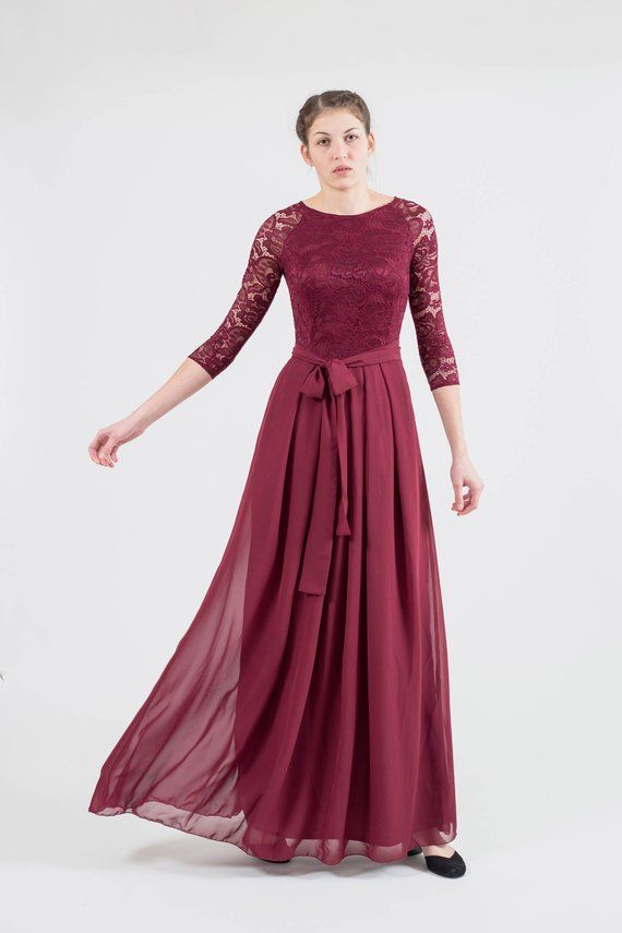 1b84d4c2959 Long burgundy bridesmaid dress with sleeves. Modest lace formal gown. Mother  of the bride dress. Plu