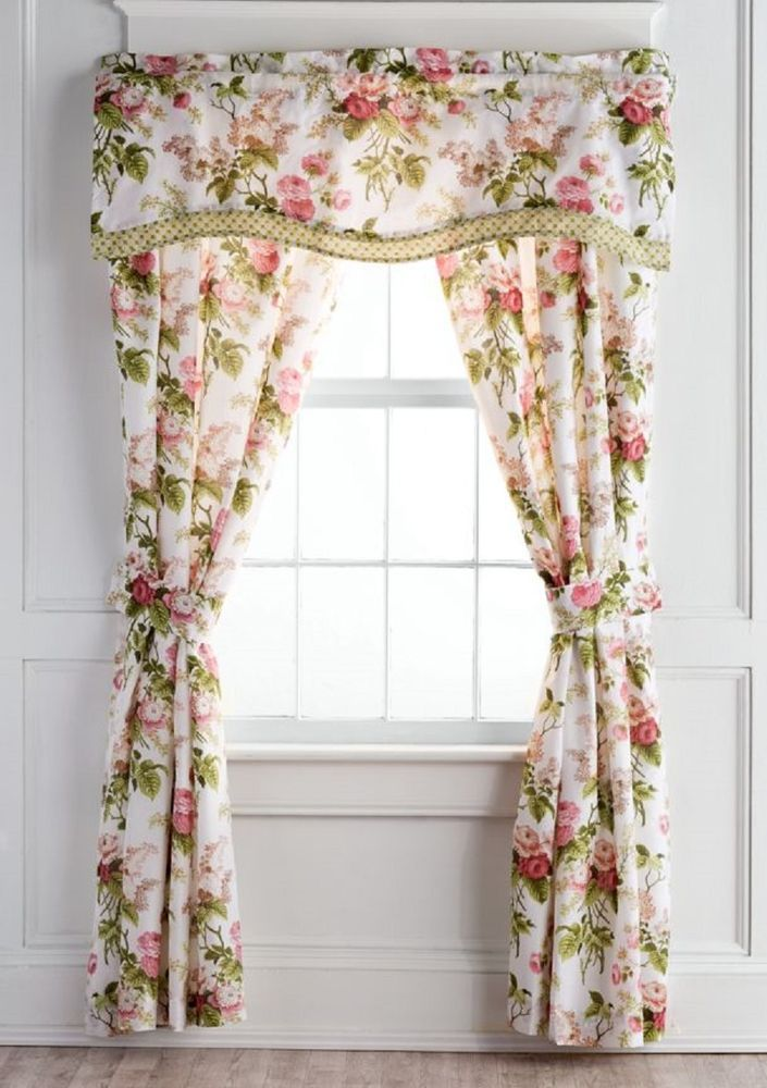 Curtains Panels With Valance Drapery Pair Window Treatment Drapes 3 Pieces New  #Waverly #NoveltyCountryRomantic