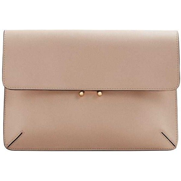 MANGO Pebbled clutch bag (750 UYU) ❤ liked on Polyvore featuring bags, handbags, clutches, nude, metallic clutches, buckle purses, mango handbags, beige clutches and vegan purses