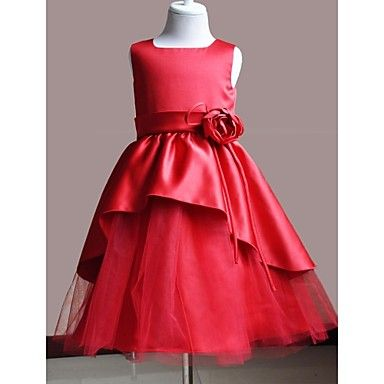 Flower Girl Dress Knee-length Satin/Polyester A-line Sleeveless Dress – USD $ 50.99