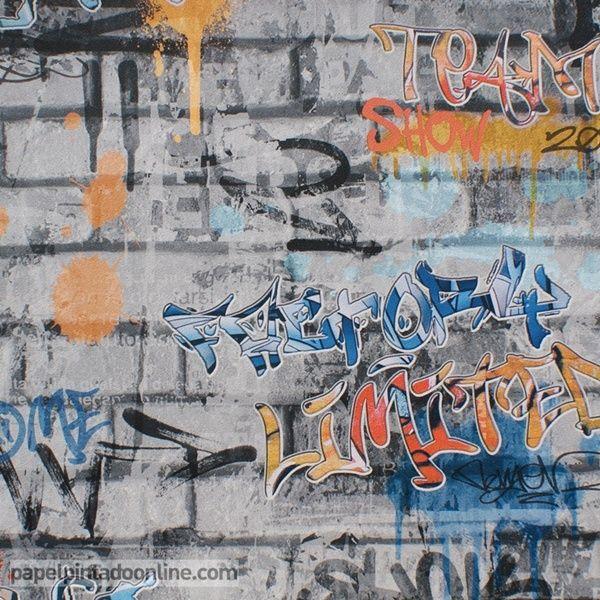Papel decorativo graffitis imagui - Papeles pintados juveniles ...
