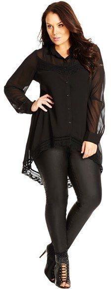 Plus Size Crochet Trim Tunic Shirt