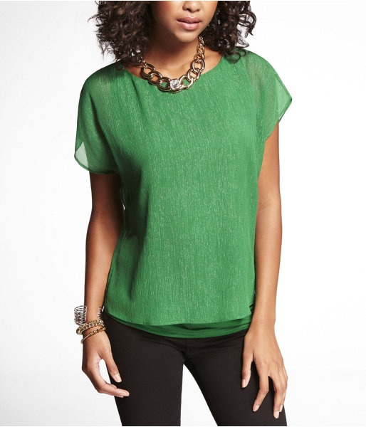 Express Womens Shiny Crinkle Chiffon Overlay Tee Willow Green, Large