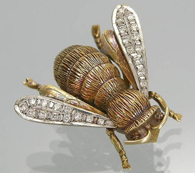 Diamond Bee Pin: